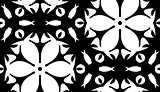 White Floral Shapes Over Black