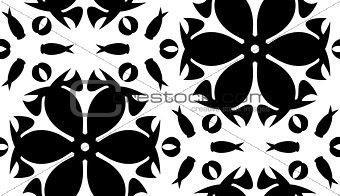 Black Floral Shapes Over White