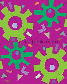 Green Flowers Over Purple Pattern