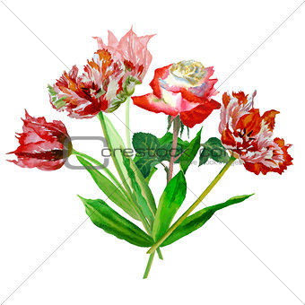 Background with tulips and roses-01