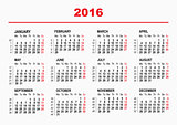 2016 Calendar template. Horizontal weeks. First day Monday