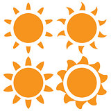 set of vector orange sun