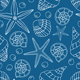Abstract seamless pattern with hand drawn seashells, pearls and