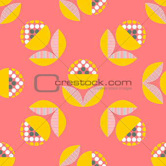 Abstract seamless pattern with floral elements.