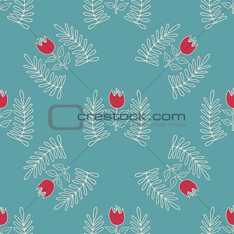 Abstract seamless pattern with hand drawn flowers.