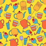 Seamless pattern with hand drawn elements. Tee bags, cups, deser