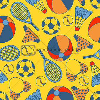 Abstract seamless pattern with hand drawn summer elements