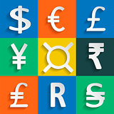 White Paper Currency Signs on colored background