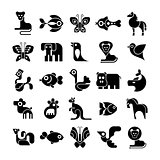 Black and White Animal Vector Icons