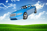 Flying blue car
