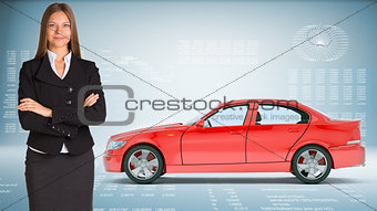 Businesslady with car