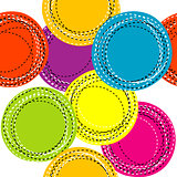 Colorful seamless pattern with sewing round shapes