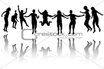 Group of children silhouette jumping