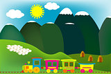 Mountain landscape with cartoon train