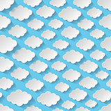 Seamless pattern with paper clouds