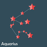 Aquarius Zodiac Sign of the Beautiful Bright Stars Vector Illust