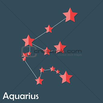 Aquarius Zodiac Sign of the Beautiful Bright Stars Vector Illust