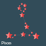 Pisces Zodiac Sign of the Beautiful Bright Stars Vector Illustra