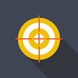 Target Flat Icon with Long Shadow, Vector Illustration