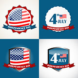 Independence Day Poster Set Vector Illustration