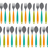 Fork, Knife and Spoon Seamless Pattern Vector Illustration