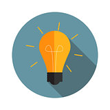 Idea Bulb Flat Icon with Long Shadow, Vector Illustration