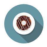 Donut Flat Icon with Long Shadow, Vector Illustration
