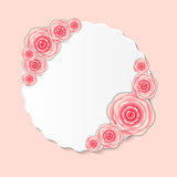 Vintage Frame with Rose Flowers Vector Illustration
