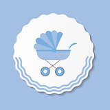Vector Illustration of Blue Baby Carriage for Newborn Boy