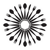 Background with Forks, Spoons end Knifes. Vector Illustration