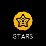 yellow star icon on black background
