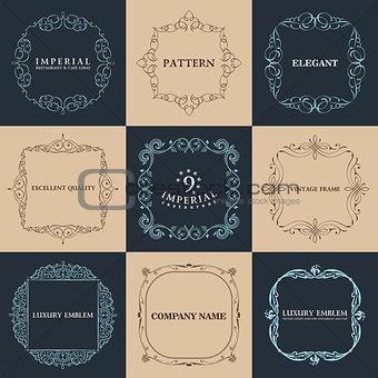 Calligraphic frames set. Vector vintage elegant text border