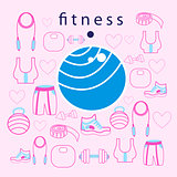 fitness ball on background