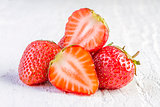 strawberries on white wooden