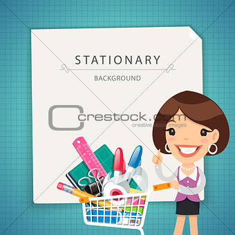 Blue Stationary Background with Female Manager