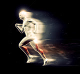 3D male figure running with speed special effect