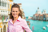 Closeup of smiling woman in Venice