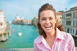 Closeup of laughing woman tourist in Venice