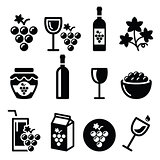 Grapes, wine - food and beverages icons set