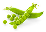 Fresh Sweet Green Pea Pods and Ceeds Isolated on White Background