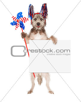 American Celebration Dog Holding Blank Sign