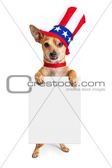 American Patriotic Chihuahua Dog Holding Sign