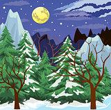 Night mountain landscape