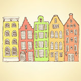 Sketch Amsterdam hauses in vintage style