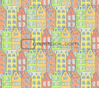 Sketch Amsterdam houses in vintage style