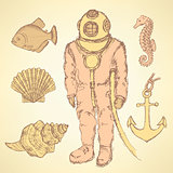 Sketch  vintage diving suit and sea creatures