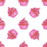 Watercolor tasty cupcake in vintage style