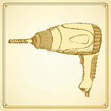 Sketch drill tool in vintage style