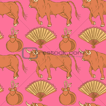 Sketch Spanish seamless pattern in vintage style