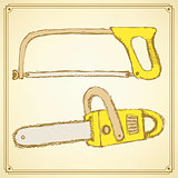 Sketch saw set in vintage style